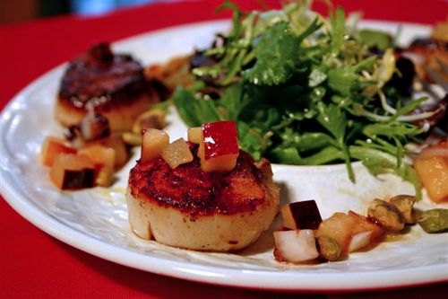 Seared Scallops with Peach Salsa